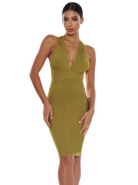 Halter V Neck Midi Bandage Dress - Rumor Apparel