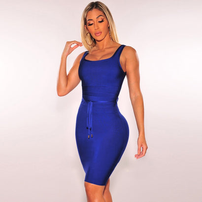 Tie Waist Bandage Dress - Blue