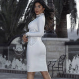 Long Sleeve Mock Neck Beaded Bandage Dress - Rumor Apparel