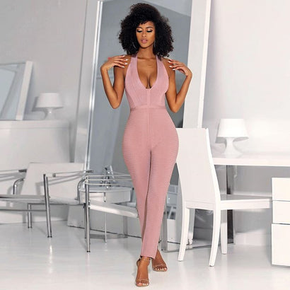 Sleeveless Halter Top Bandage Jumpsuit - Rumor Apparel