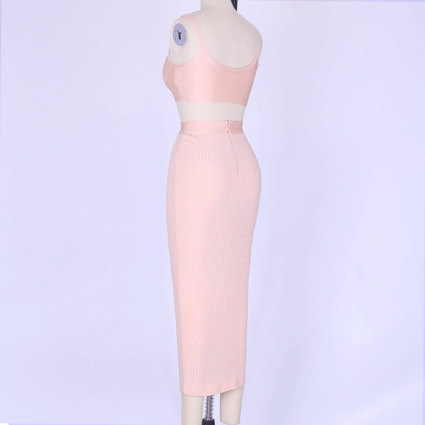 Two Piece Bandage Crop Top & Midi Skirt - Rumor Apparel