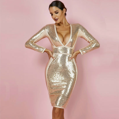 Gold Long Sleeve Deep V Neck Sequin Bandage Dress - Rumor Apparel