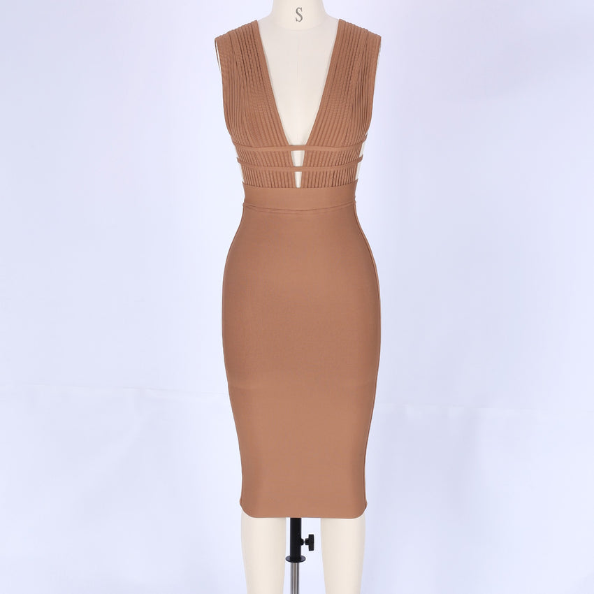 Light Brown Deep V Neck Sleeveless Bandage Dress - Rumor Apparel