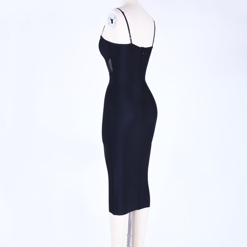 Black Spaghetti Strap Mesh Cutout Bandage Dress - Rumor Apparel