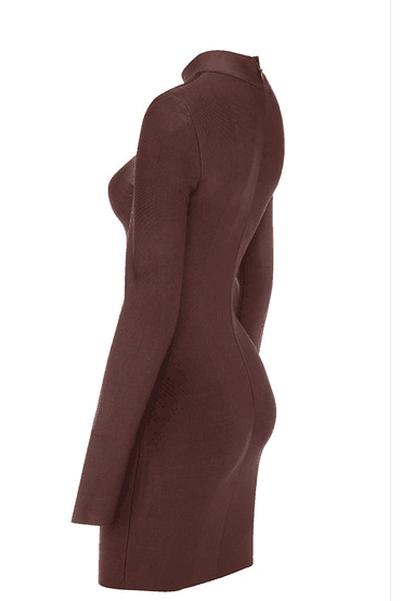 Brown Round Neck Long Sleeve Bandage Dress - Rumor Apparel