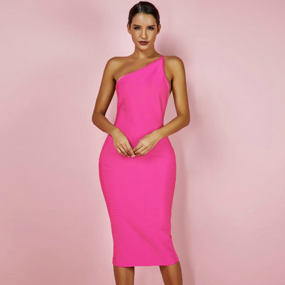 One Shoulder Sleeveless Bandage Dress - Rumor Apparel
