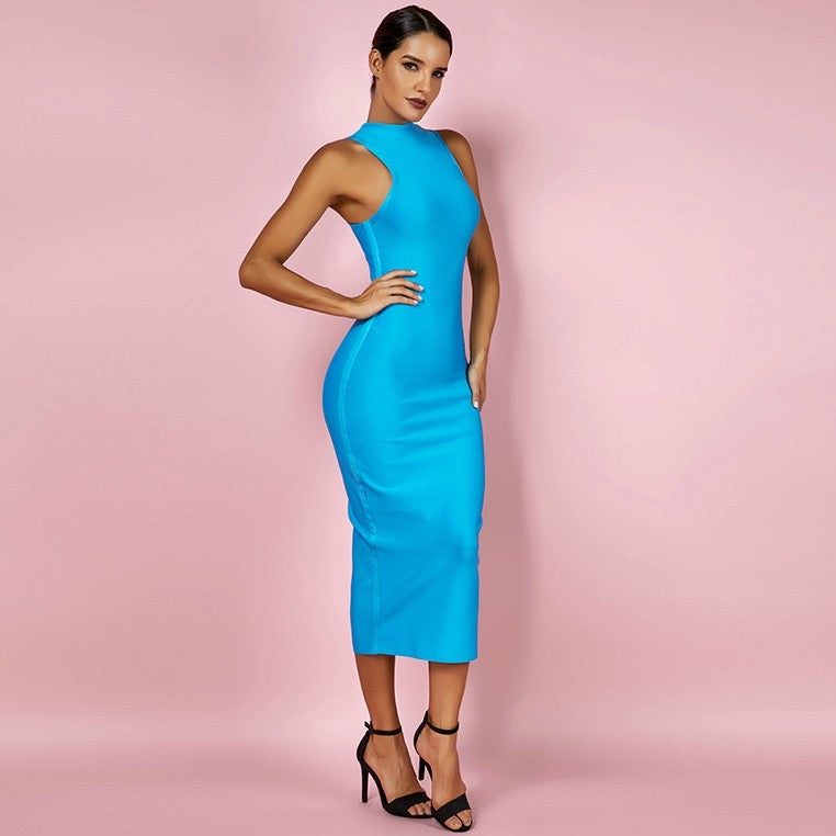 Blue High Neck Sleeveless Bandage dress - Rumor Apparel