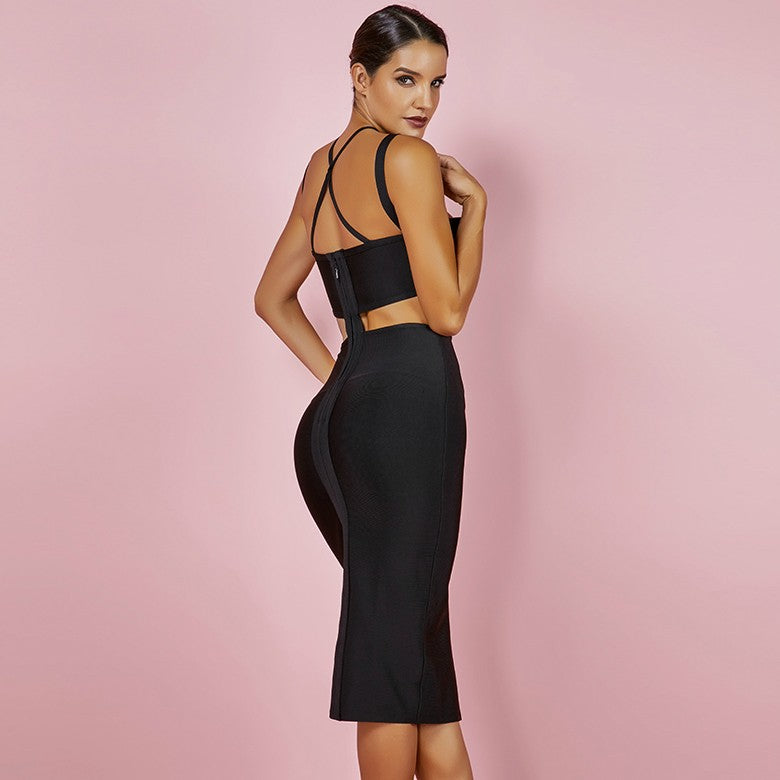 Black Strappy Cut Out Bandage Dress - Rumor Apparel