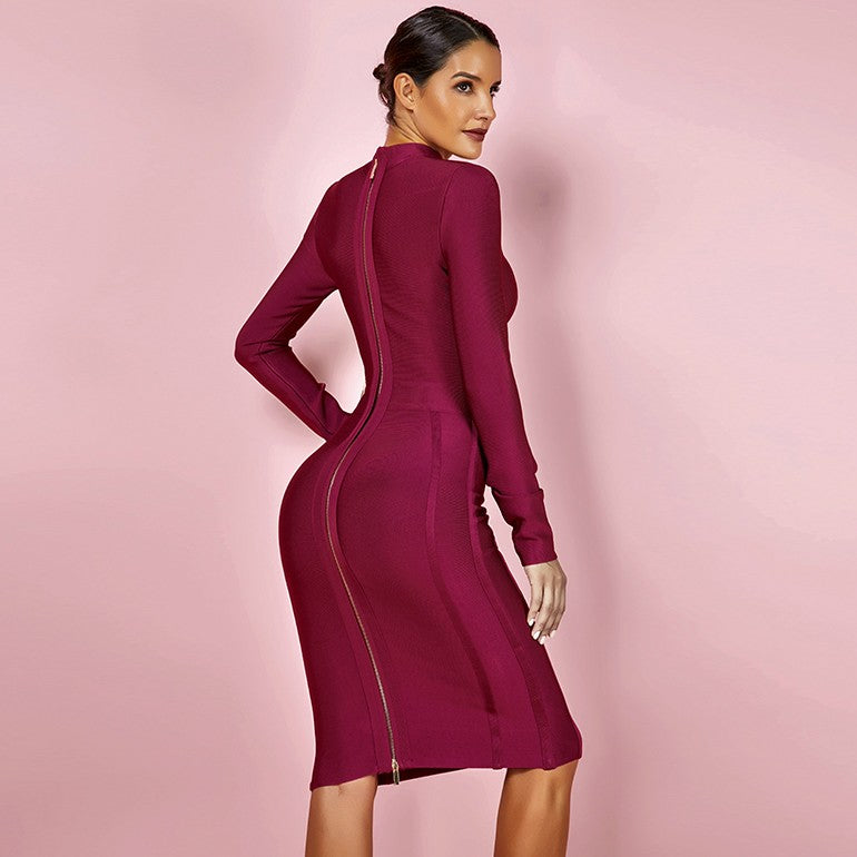 Wine High Neck Long Sleeve Bandage Dress - Rumor Apparel