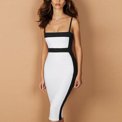 Black & White Spaghetti Strap Bandage Dress - Rumor Apparel