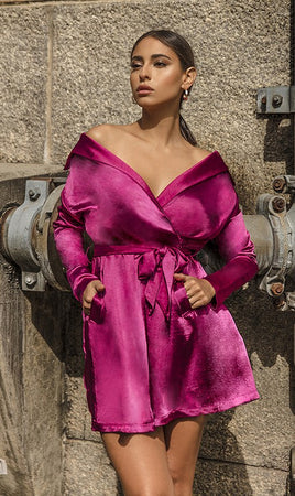 Fuchsia Satin Off the Shoulder Dress - Rumor Apparel
