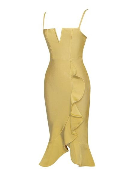 Mustard Strappy Bandage Dress With Ruffle Design - Rumor Apparel