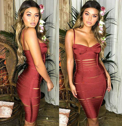 Burgundy Spaghetti Strap Cutout Bandage Dress - Rumor Apparel