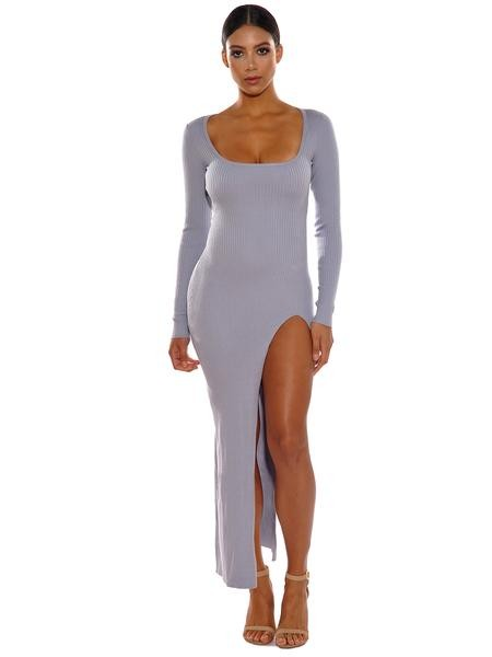 Grey Long Sleeve High Slit Wool Sweater Dress - Rumor Apparel