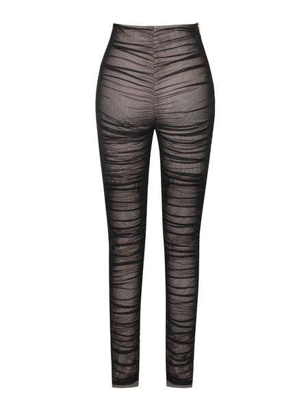 Black Mesh Ruche Stretch Pants - Rumor Apparel