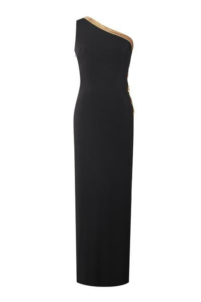 One Shoulder Gold Crystal Embellished Side Cut Out Black Stretch Crepe Dress