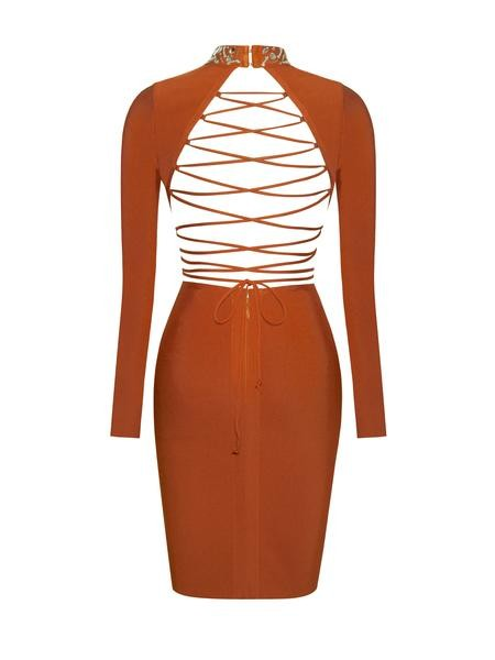 Lace Up Back Detail Long Sleeve Bandage Dress - Rumor Apparel