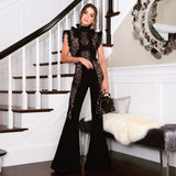 Black Sleeveless Lace Bandage Jumpsuit - Rumor Apparel