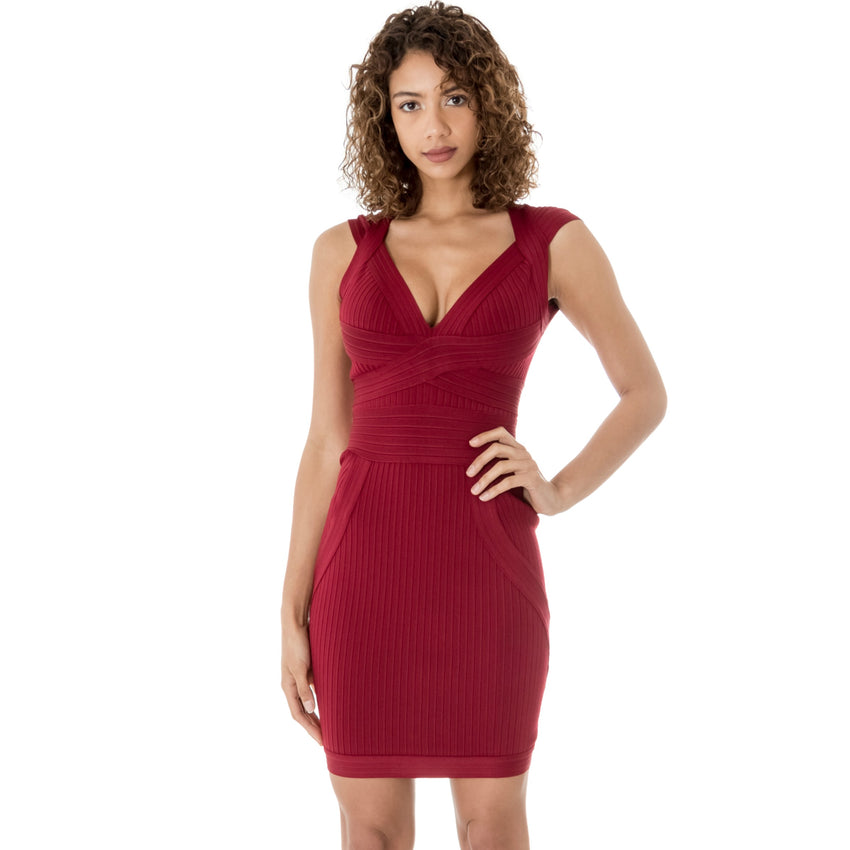 Red Sleeveless V Neck Bandage Mini Dress