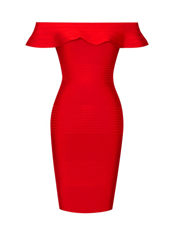 Red Off Shoulder Bandage Dress with Serrated Trim
