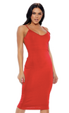 Red Open Back Midi Dress
