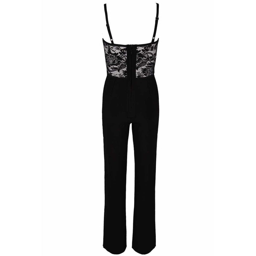 Black Strappy Lace Bandage Jumpsuit - Rumor Apparel