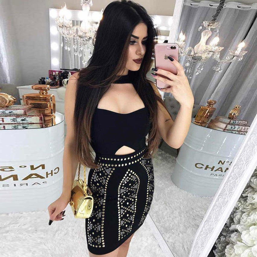 Black Sleeveless Studded Bandage Dress - Rumor Apparel