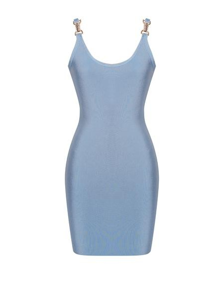 Powder Blue Bodycon Bandage Gold and Silver Diamond Detail Dress - Rumor Apparel
