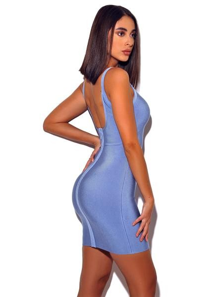 Powder Blue Bodycon Bandage Gold and Silver Diamond Detail Dress