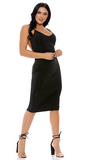 Black Open Back Midi Dress - Rumor Apparel