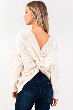 Ivory Knit Twist Knotted Back Sweater - Rumor Apparel