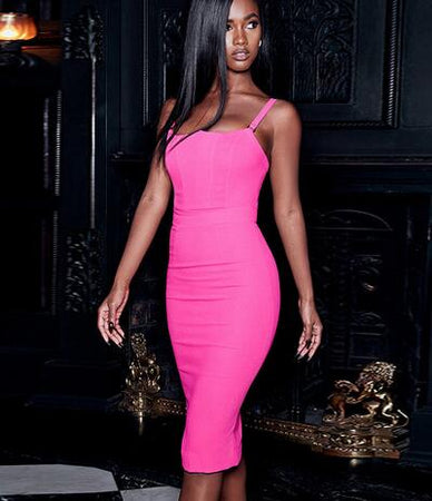 Pink Spaghetti Strap Bandage Dress - Rumor Apparel