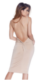 Nude Open Back Midi Dress