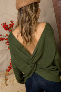 Olive Knit Twist Knotted Back Sweater