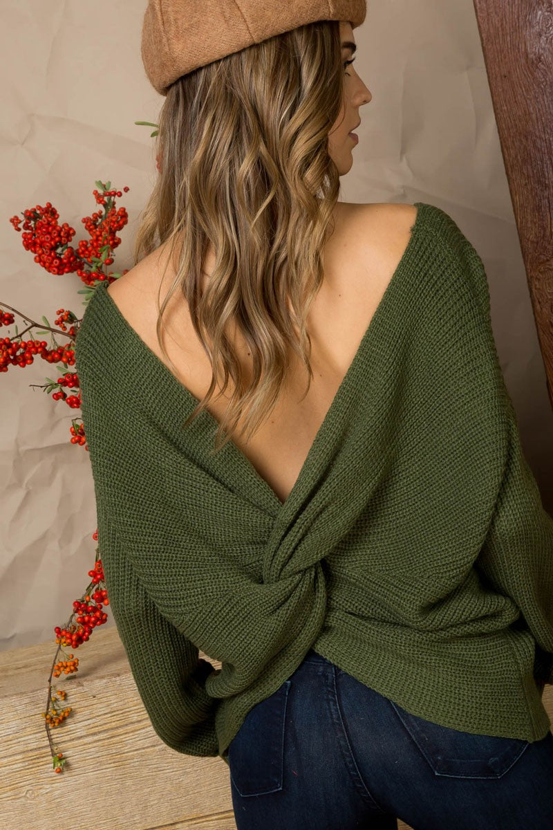 Olive Knit Twist Knotted Back Sweater - Rumor Apparel