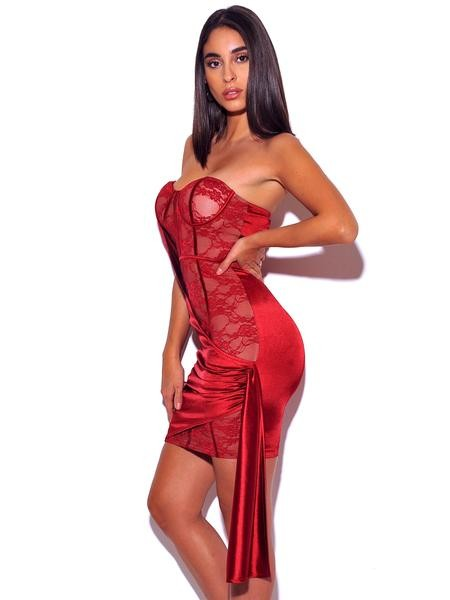 Red Strapless Lace Satin Drape Dress