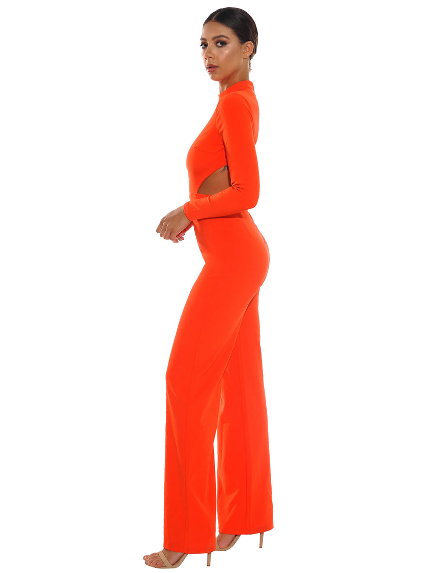 Orange Backless Stretch Crepe Jumpsuit