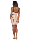 Double Strap Symmetrical Line Beige Bandage Dress - Rumor Apparel