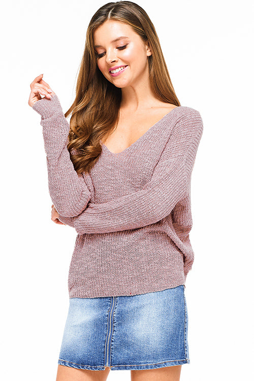 Mauve Knit Long Sleeve V Neck Knotted Sweater - Rumor Apparel
