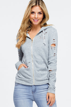 Grey Distressed Hoodie Jacket - Rumor Apparel