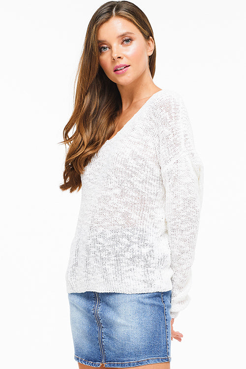 Ivory Knit Long Sleeve V Neck Knotted Sweater - Rumor Apparel