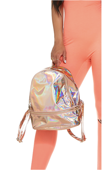 Rose Gold Iridescent Mini Backpack