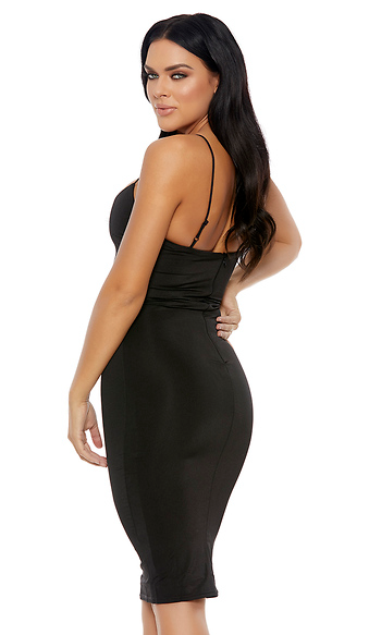 Black Plunging Neckline Sleeveless Midi Dress - Rumor Apparel