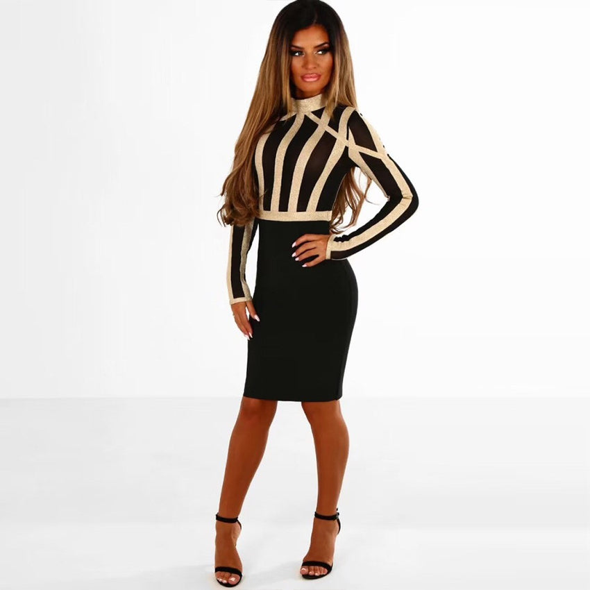 Black & Gold High Neck Long Sleeve Mesh Bandage Dress - Rumor Apparel