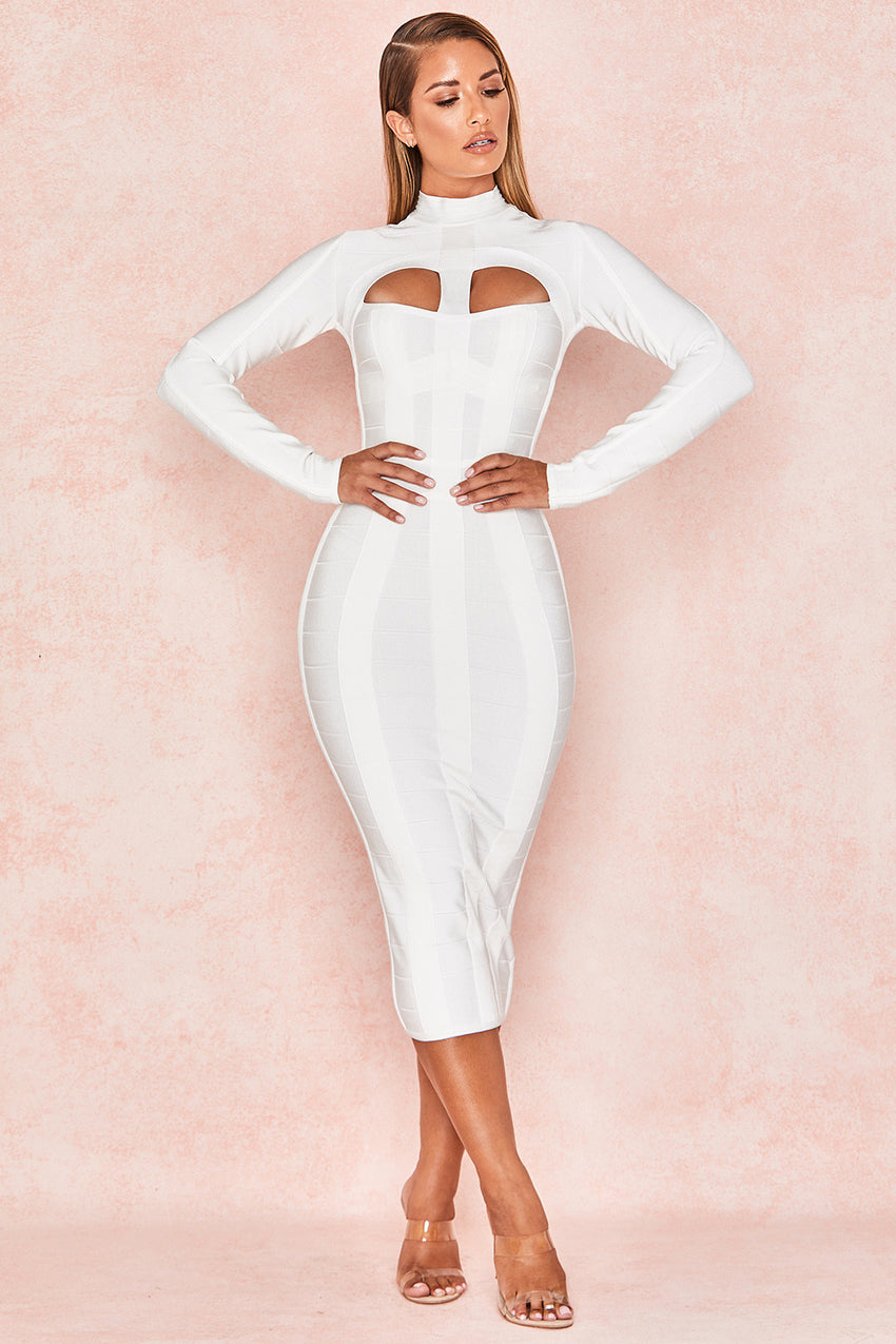 White Long Sleeve Cutout Midi Bandage Dress - Rumor Apparel