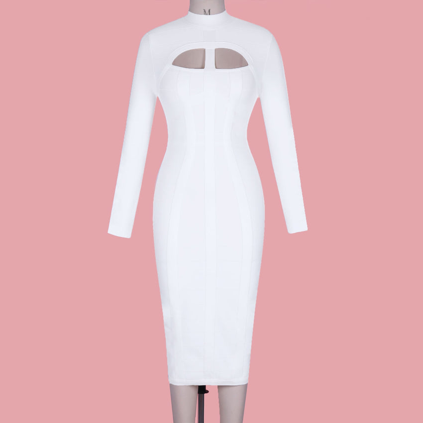 White Long Sleeve Cutout Midi Bandage Dress