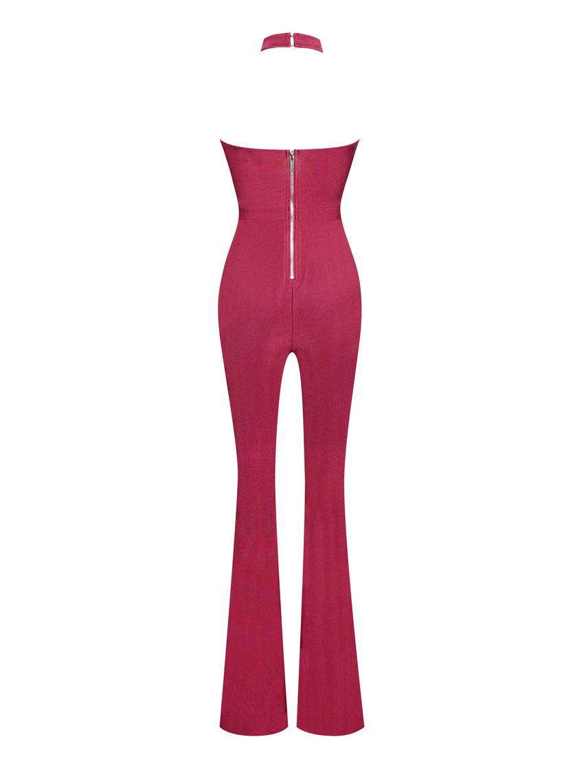 Burgundy Criss Cross Neckline Bodycon Bandage Flare Jumpsuit - Rumor Apparel