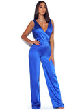 Royal Blue Satin Jumpsuit