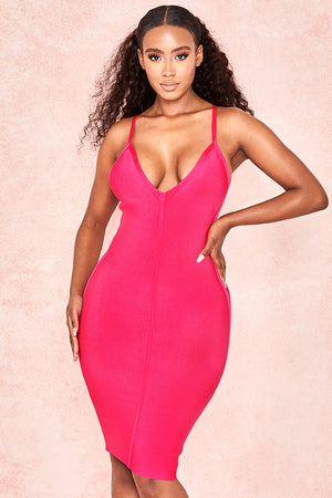 Rosy Spaghetti Strap V Neck Bandage Dress