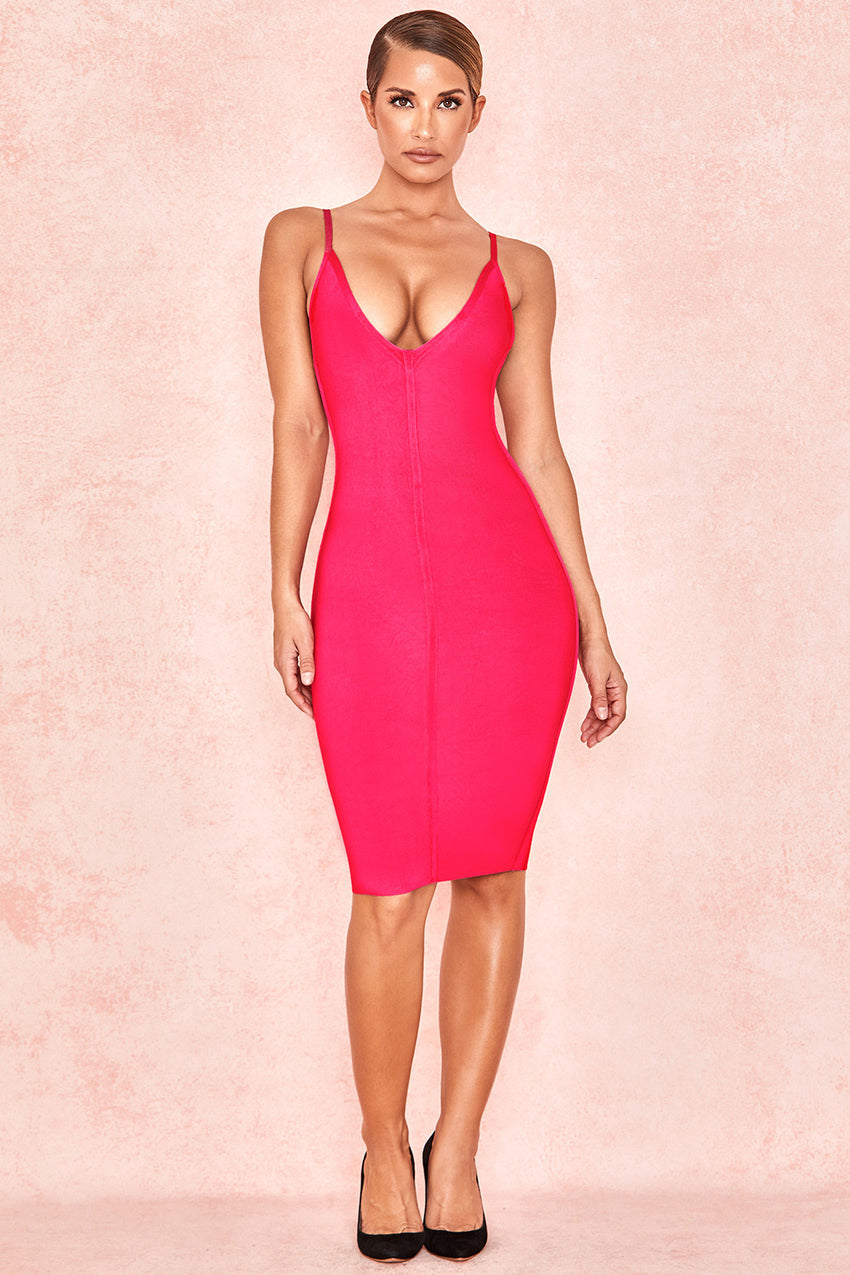 Rosy Spaghetti Strap V Neck Bandage Dress - Rumor Apparel